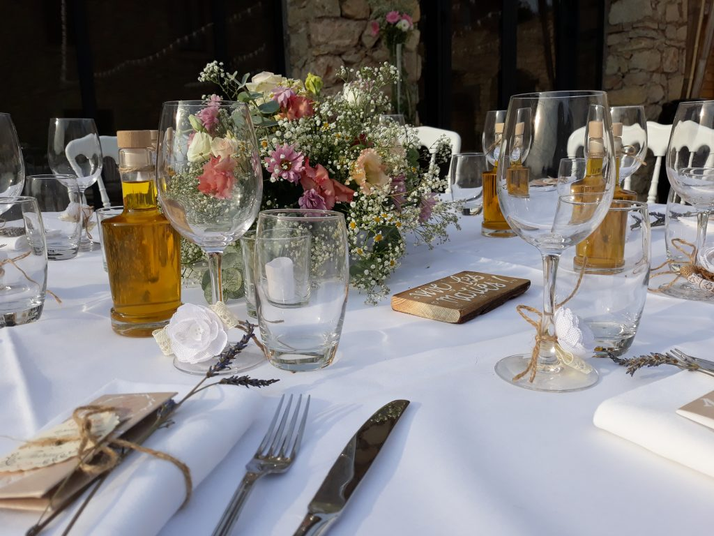 décoration tables, thème champêtre chic